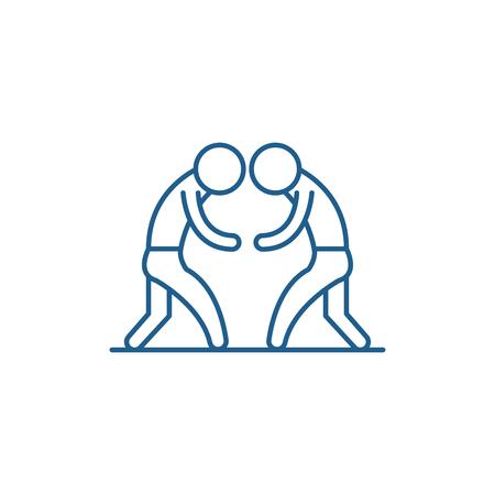 Wrestling line concept icon. Wrestling flat  vector website sign, outline symbol, illustration. Illustration