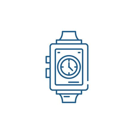 Wrist watch line concept icon. Wrist watch flat  vector website sign, outline symbol, illustration.