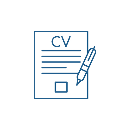 Writing a resume line concept icon. Writing a resume flat  vector website sign, outline symbol, illustration. Çizim