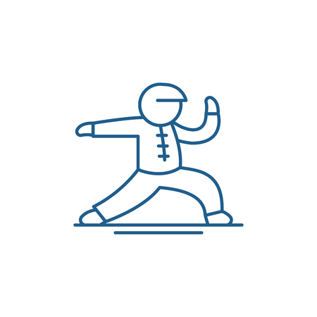 Wushu line concept icon. Wushu flat  vector website sign, outline symbol, illustration.