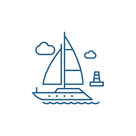Yacht line concept icon. Yacht flat  vector website sign, outline symbol, illustration. Иллюстрация