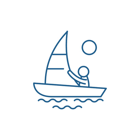 Yachting line concept icon. Yachting flat  vector website sign, outline symbol, illustration. Иллюстрация