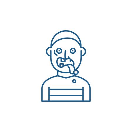 Zombie line concept icon. Zombie flat  vector website sign, outline symbol, illustration.