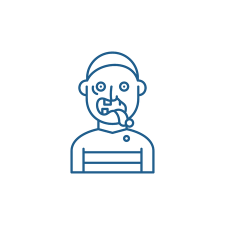 Zombie line concept icon. Zombie flat  vector website sign, outline symbol, illustration.