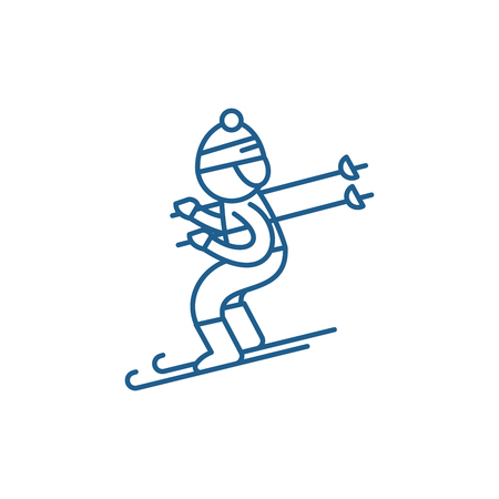 Skiing line concept icon. Skiing flat  vector website sign, outline symbol, illustration.