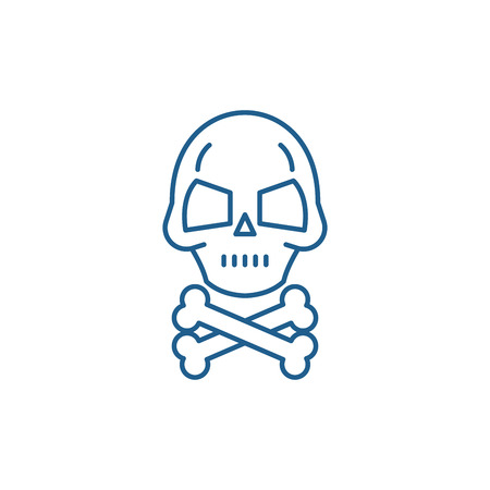 Skull with bones line concept icon. Skull with bones flat  vector website sign, outline symbol, illustration. Illusztráció