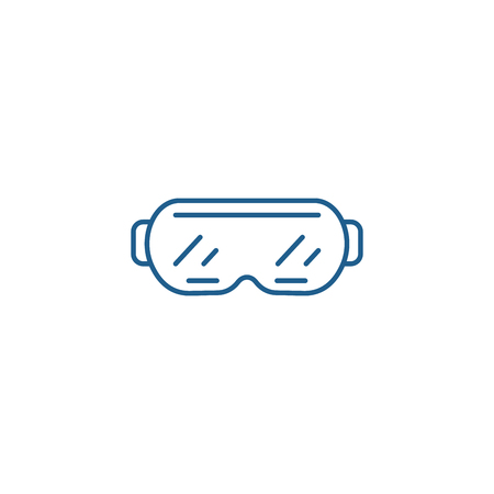 Ski goggles line concept icon. Ski goggles flat  vector website sign, outline symbol, illustration. Illustration