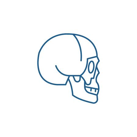 Skull side view line concept icon. Skull side view flat  vector website sign, outline symbol, illustration.