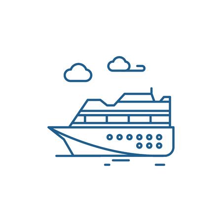 Ski resort line concept icon. Ski resort flat  vector website sign, outline symbol, illustration.