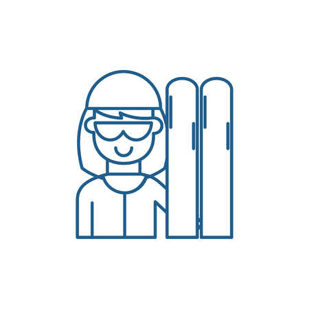 Skier line concept icon. Skier flat  vector website sign, outline symbol, illustration. 일러스트