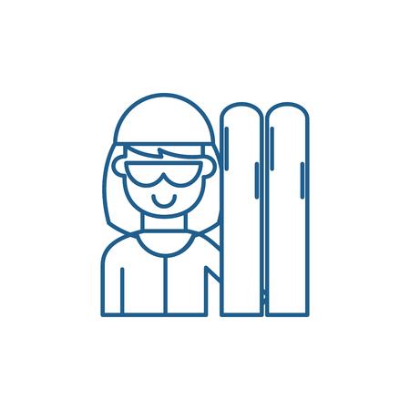 Skier line concept icon. Skier flat  vector website sign, outline symbol, illustration. Illustration