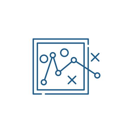 Route planning line concept icon. Route planning flat  vector website sign, outline symbol, illustration. Illustration