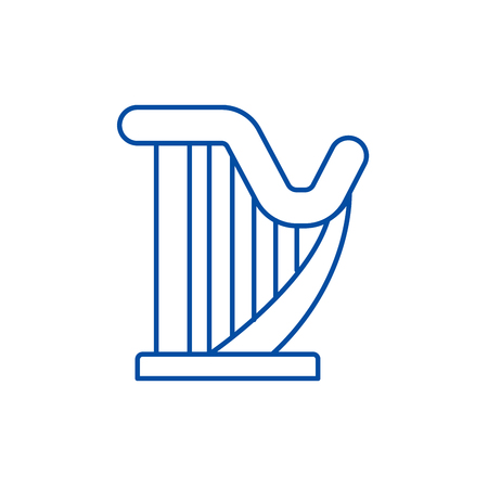 Harp line concept icon. Harp flat  vector website sign, outline symbol, illustration.