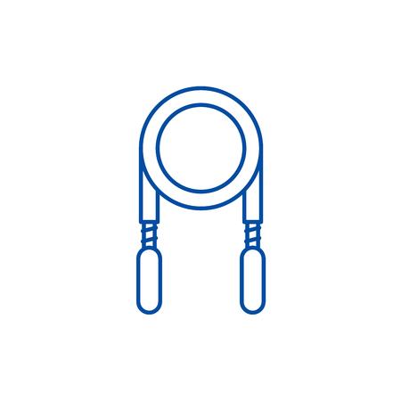 Jump rope line concept icon. Jump rope flat  vector website sign, outline symbol, illustration.