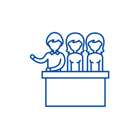 Jury trial line concept icon. Jury trial flat  vector website sign, outline symbol, illustration.