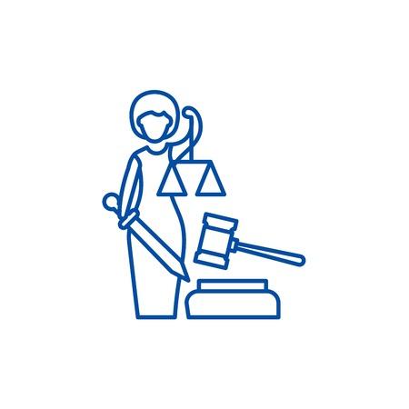 Justice line concept icon. Justice flat  vector website sign, outline symbol, illustration. Illustration