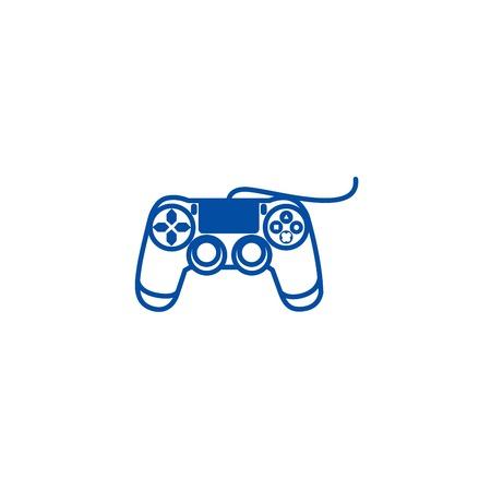 Icône de concept de ligne de console de manette. Signe de site Web de vecteur plat de console de manette, symbole de contour, illustration.