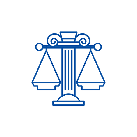 Judicial system line concept icon. Judicial system flat  vector website sign, outline symbol, illustration. Illustration