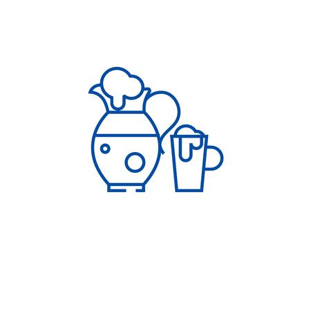 Jug with bear line concept icon. Jug with bear flat  vector website sign, outline symbol, illustration.