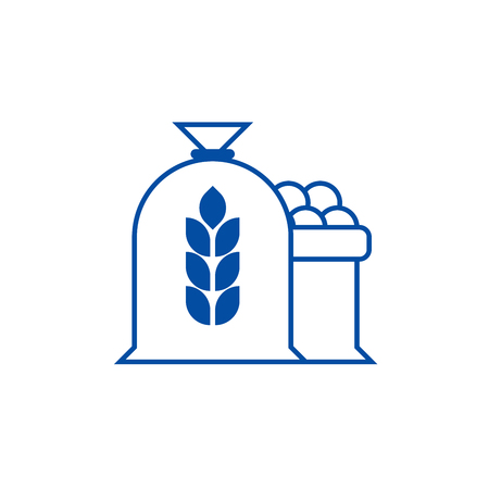 Harvest wheat bag line concept icon. Harvest wheat bag flat  vector website sign, outline symbol, illustration.