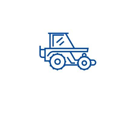 Harvesting tractor line concept icon. Harvesting tractor flat  vector website sign, outline symbol, illustration.  イラスト・ベクター素材