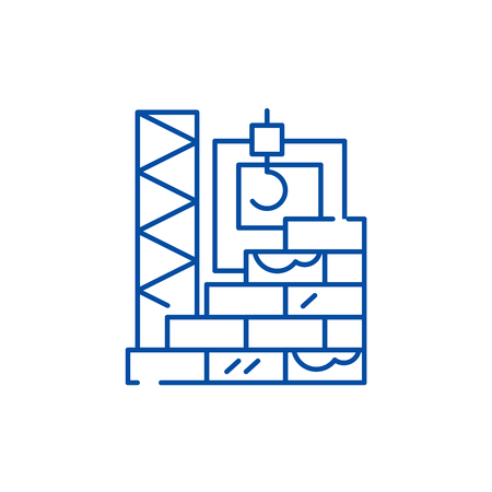 High rise construction line concept icon. High rise construction flat  vector website sign, outline symbol, illustration.  イラスト・ベクター素材