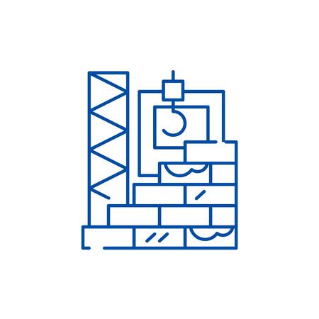 High rise construction line concept icon. High rise construction flat  vector website sign, outline symbol, illustration. Иллюстрация