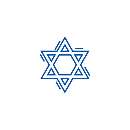 Jewish david star line concept icon. Jewish david star flat  vector website sign, outline symbol, illustration.