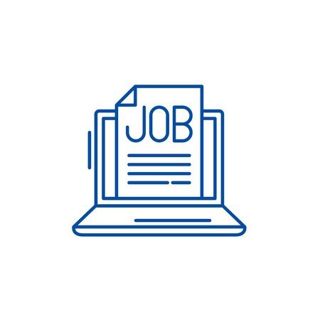 Job search online line concept icon. Job search online flat  vector website sign, outline symbol, illustration. Illustration