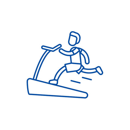 Jogging on the treadmill line concept icon. Jogging on the treadmill flat  vector website sign, outline symbol, illustration. 向量圖像