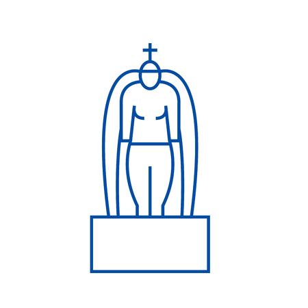 Hinduism line concept icon. Hinduism flat  vector website sign, outline symbol, illustration.