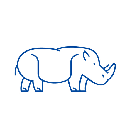 Hippopotamus,hippo line concept icon. Hippopotamus,hippo flat  vector website sign, outline symbol, illustration. Фото со стока - 120185693