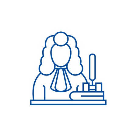 Judge,gavel  line concept icon. Judge,gavel  flat  vector website sign, outline symbol, illustration. 向量圖像