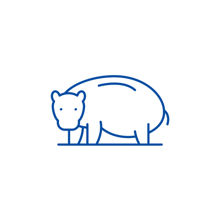 Hippopotamus line concept icon. Hippopotamus flat  vector website sign, outline symbol, illustration.