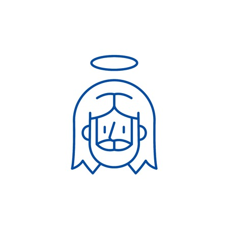 Jesus line concept icon. Jesus flat  vector website sign, outline symbol, illustration.