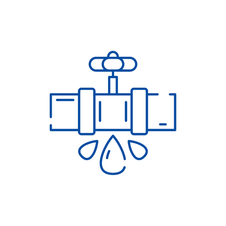 Water pipes line concept icon. Water pipes flat  vector website sign, outline symbol, illustration. Illustration