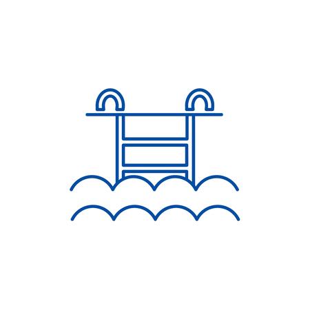 Water pool line concept icon. Water pool flat  vector website sign, outline symbol, illustration. Standard-Bild - 120277598