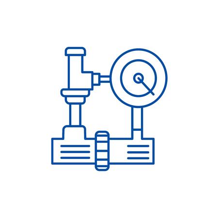 Water pressure system, hvac industry line concept icon. Water pressure system, hvac industry flat  vector website sign, outline symbol, illustration. Stock Illustratie