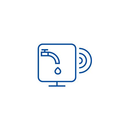 Water sensor line concept icon. Water sensor flat  vector website sign, outline symbol, illustration.