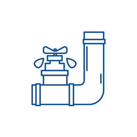 Water supply line concept icon. Water supply flat  vector website sign, outline symbol, illustration. 向量圖像