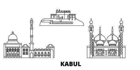 Afghanistan, Kabul line travel skyline set. Afghanistan, Kabul outline city vector panorama, illustration, travel sights, landmarks, streets.