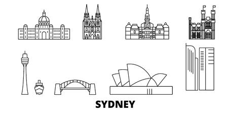 Australia, Sydney, la línea del horizonte de viaje. Australia, Sydney, panorama de vector de la ciudad de contorno, ilustración, lugares turísticos, monumentos, calles.