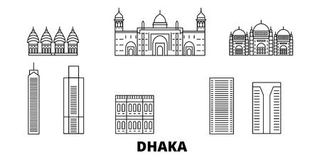 Bangladesh, Dhaka, la línea del horizonte de viaje. Bangladesh, Dhaka esquema panorama vectorial de la ciudad, ilustración, lugares turísticos, monumentos, calles. Ilustración de vector