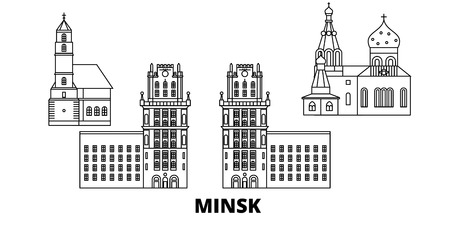 Belarus, Minsk line travel skyline set. Belarus, Minsk outline city vector panorama, illustration, travel sights, landmarks, streets.