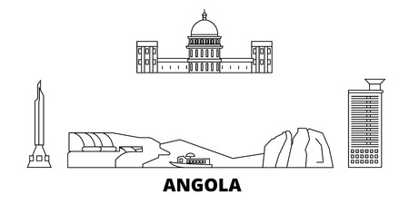 Angola  line travel skyline set. Angola  outline city vector panorama, illustration, travel sights, landmarks, streets.