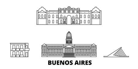 Argentina, Buenos Aires, la línea del horizonte de viaje. Argentina, Buenos Aires esquema panorama vectorial de la ciudad, ilustración, lugares turísticos, monumentos, calles.