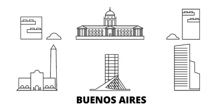Argentina, Buenos Aires City line travel skyline set. Argentina, Buenos Aires City outline city vector panorama, illustration, travel sights, landmarks, streets. Иллюстрация
