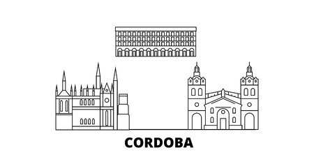 Argentina, Cordoba line travel skyline set. Argentina, Cordoba outline city vector panorama, illustration, travel sights, landmarks, streets.