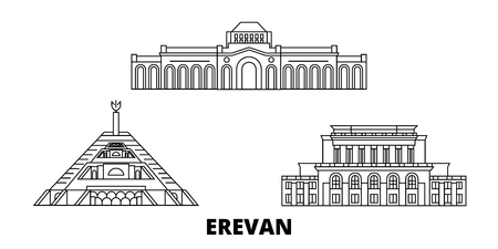Armenia, Erevan line travel skyline set. Armenia, Erevan outline city vector panorama, illustration, travel sights, landmarks, streets.