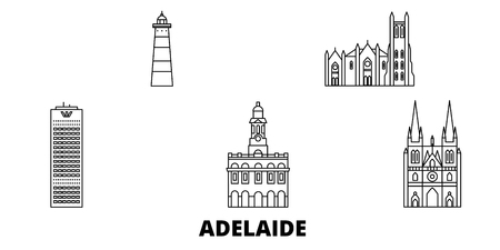 Australia, Adelaide line travel skyline set. Australia, Adelaide outline city vector panorama, illustration, travel sights, landmarks, streets. Ilustração